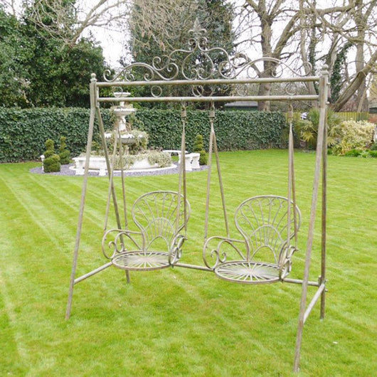Aged Double Swing Seat Gardening Furniture Candle and Blue