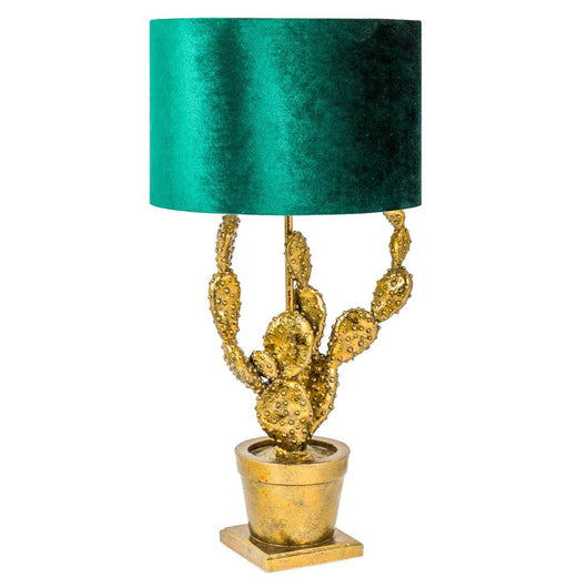 Antique Gold Style Potted Cactus Table Lamp Table Lamps Candle and Blue Interiors