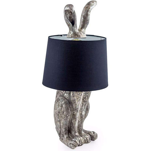 Antique Silver Style Tall Hare Table Lamp And Shade Lighting Candle and Blue