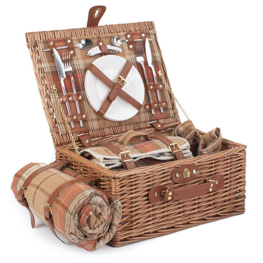 Autumn Tartan Hamper For 2 People Picnic Baskets Candle and Blue Interiors