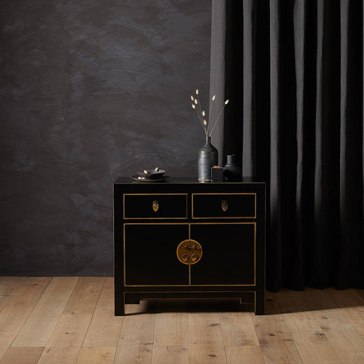 Black Wooden Oriental Style Sideboard Chinese Furniture Candle and Blue