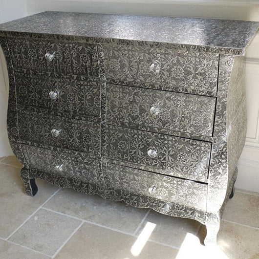Blackened Chest of 8 Drawers Storage Units Candle and Blue