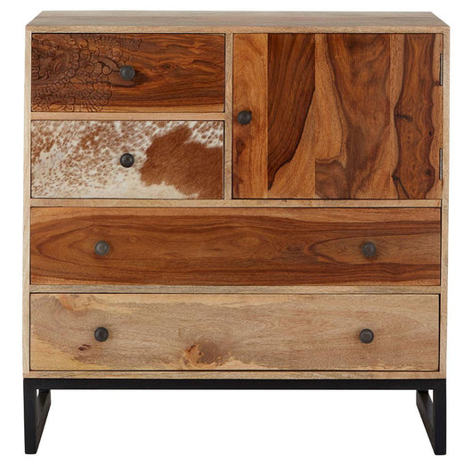Boho Style Mango Wood 4 Drawer Sideboard Storage Units Candle and Blue Interiors