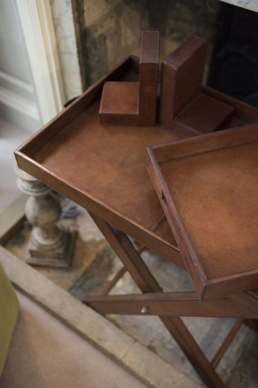 993e4b5764 Leather Butlers Tray|Tray Table|Folding Butlers Tray - Candle and ...
