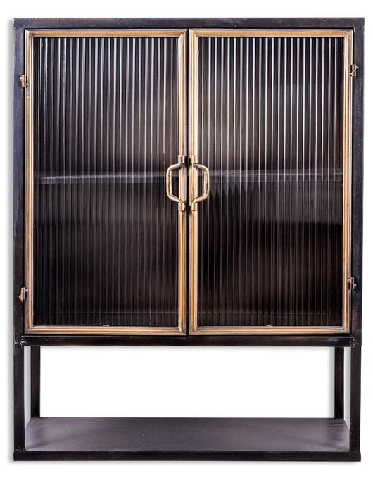 Calla Antique Style Black and Gold Square Cabinet Storage Units Candle and Blue Interiors