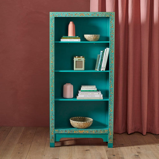 Chinese Style Blue Tall Wooden Bookcase Storage Units Candle and Blue