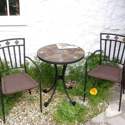Cotswold Patio Small Table And Chair Set Gardening Furniture Candle and Blue