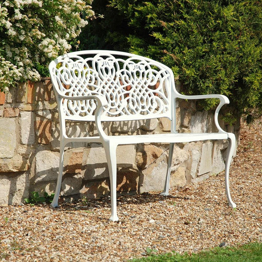 Cream Metal Vinatage Style Garden Bench Gardening Furniture Candle and Blue Interiors