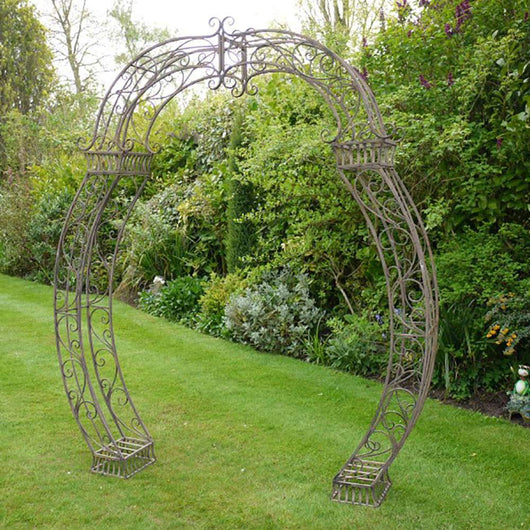 Decorative Brown Metal Rose Garden Arch Gardening Furniture Candle and Blue