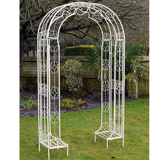 Decorative Cream/White Metal Arch For The Garden Garden Furniture Candle and Blue