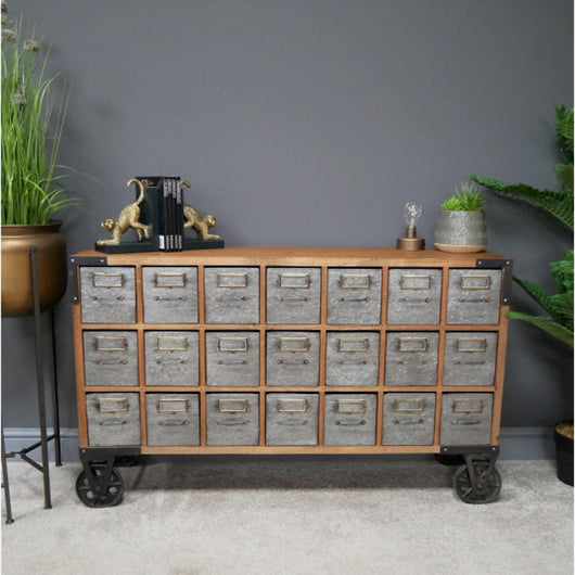 Distressed Industrial Multi Drawer Cabinet Storage Units Candle and Blue Interiors