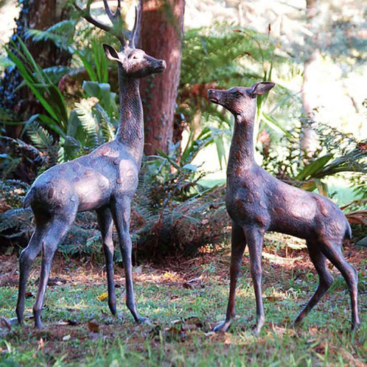 Extra Large Deer Statues Pair Garden Sculptures Candle and Blue