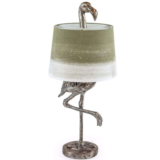 Flamingo Table Lamp Silver Finish Sage Lamp Lighting Candle and Blue