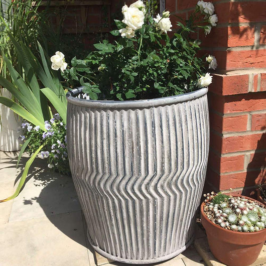 Galvanised Plant Pot Holder For Garden Dolly Tub Gardening Accessories Candle and Blue