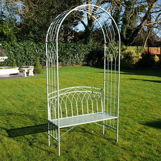 Garden Metal Garden Rose Arch & Bench Seat Olive Green Garden Furniture Candle and Blue Interiors