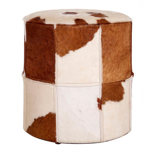 Genuine Cowhide Brown White Ottoman Footstool Candle and Blue Interiors
