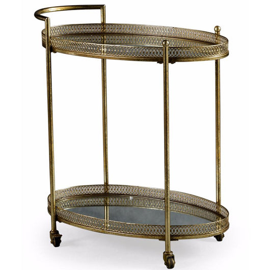 Gold Metal Drinks Tea Serving Trolley End Tables Candle and Blue Interiors