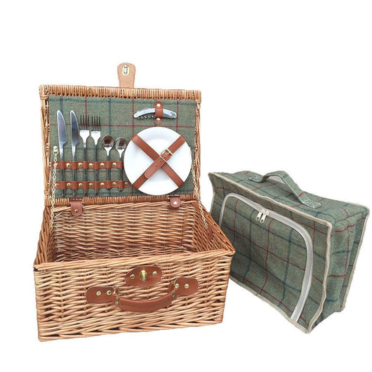 Green Tweed 2 Person Picnic Willow Hamper Picnic Baskets Candle and Blue
