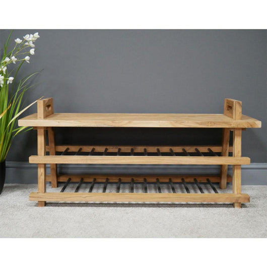 Hallway Shoe Bench Seat With 2 Shelves Industrial Style Candle and Blue Interiors
