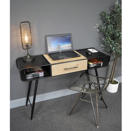 Industrial Black Metal Writing Desk Industrial Style Candle and Blue Interiors