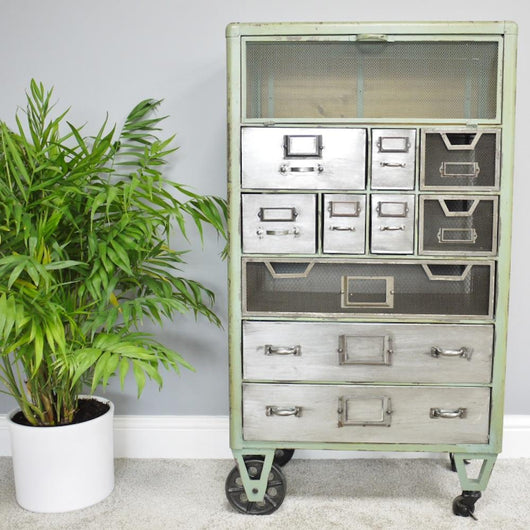 Industrial Metal Multi-Drawer Cabinet Industrial Style Candle and Blue Interiors