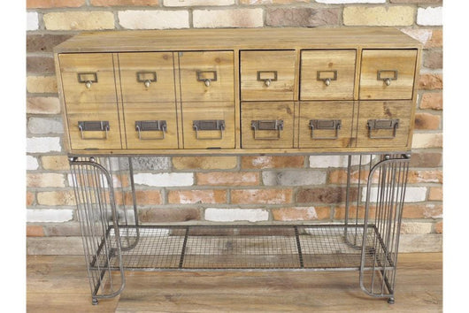 Industrial Multi-Drawer Wooden Cabinet Industrial Style Candle and Blue Interiors