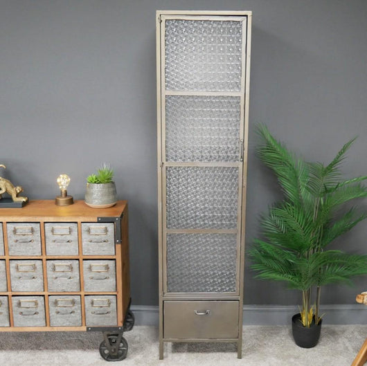 Industrial Slim Metal Display Cabinet Storage Units Candle and Blue Interiors