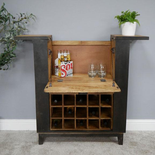 Industrial Style Black Wood Wine Cabinet Bar Industrial Style Candle and Blue Interiors
