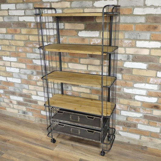 Industrial Style Metal & Wood Bookcase With Shelves 2 Drawers Industrial Style Candle and Blue Interiors