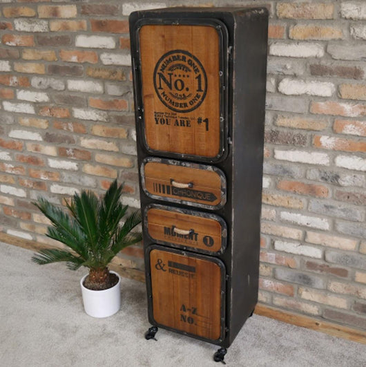 Industrial Vintage Style Metal Wood Cabinet Industrial Style Candle and Blue Interiors