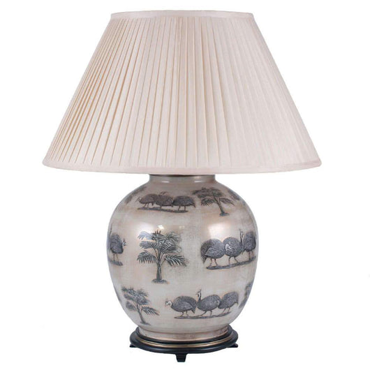 Jenny Worrall Large Guinea Fowl Table Lamp Lighting Candle and Blue