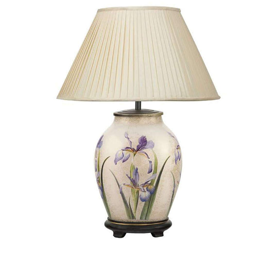 Jenny Worrall Purple Iris Oval Table Lamp Lighting Candle and Blue  Suffolk