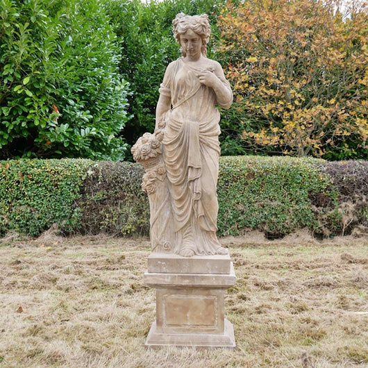 Lady With Basket Stone Garden Statue Garden Sculptures Candle and Blue Interiors