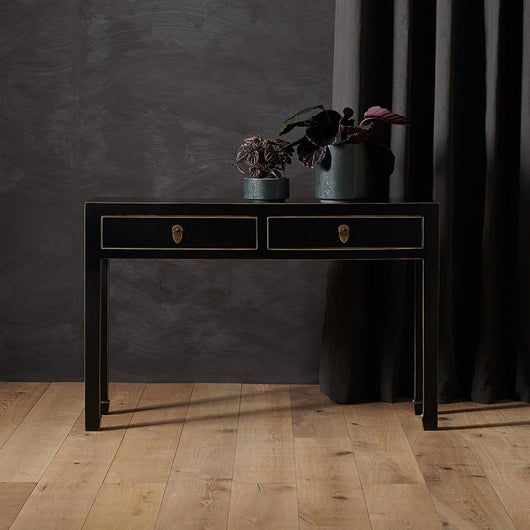 Large Black Chinese Style Console Table Chinese Furniture Candle and Blue