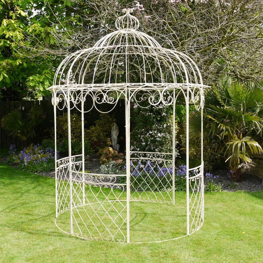 Large Cream Metal Garden Gazebo Gardening Furniture Candle and Blue Interiors
