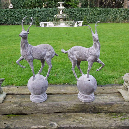 Large Garden Stag Finials Cast Iron Garden Sculptures Candle and Blue
