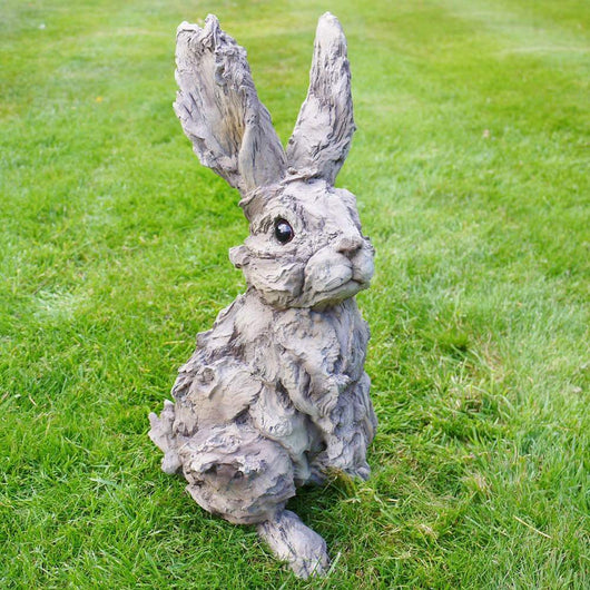 Large Resin Rabbit Garden Ornament Garden Sculptures Candle and Blue