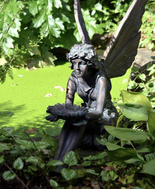 Large Sitting Fairy Garden Ornament Garden Sculptures Candle and Blue