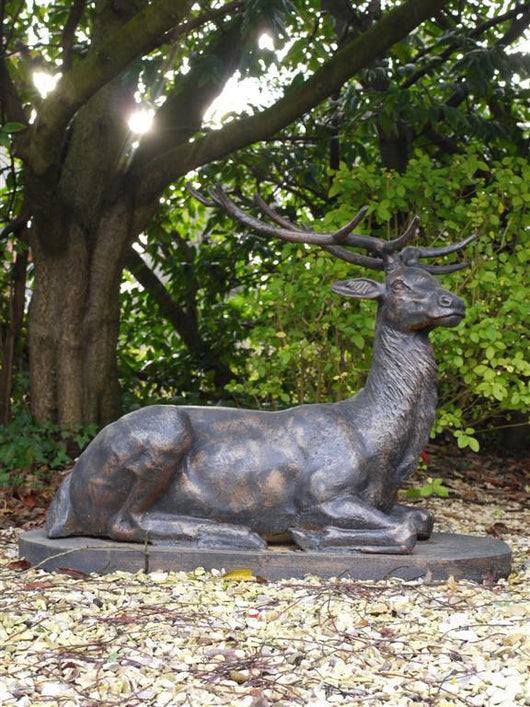 Laying Cast Iron Garden Stag Ornament Garden Sculptures Candle and Blue