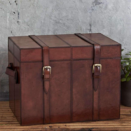 Leather Storage Trunk Small Leather Storage Candle and Blue
