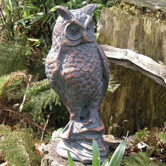 Long Eared Owl Metal Garden Sculpture Garden Sculptures Candle and Blue