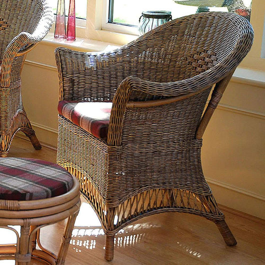 Loom Style Wicker Conservatory Chair Chestnut Specs Candle and Blue