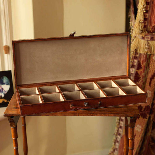 Luxury Leather Cufflinks Box Leather Storage Candle and Blue