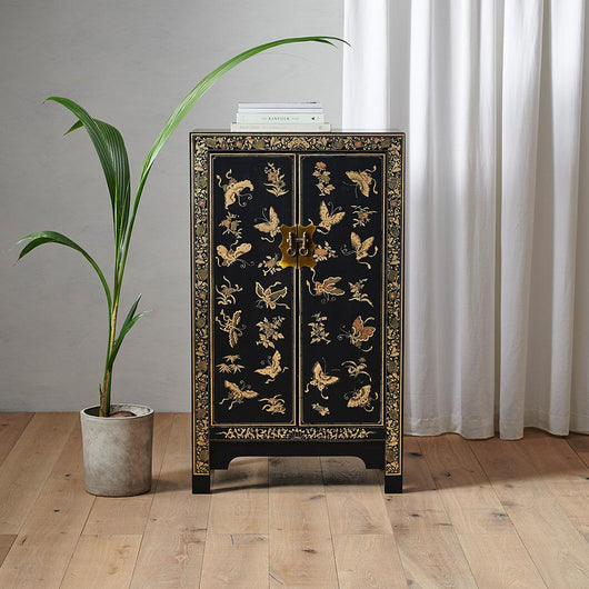 Medium Black Chinese Cabinet in Wood Chinese Furniture Candle and Blue
