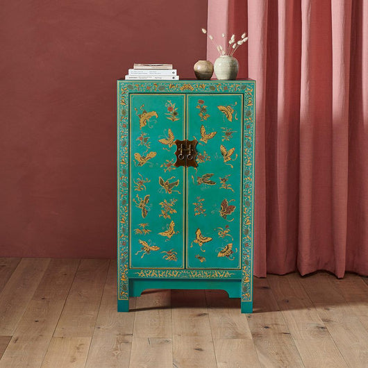 Chinese Cabinet In Blue Oriental Storage Furniture Candle And Blue