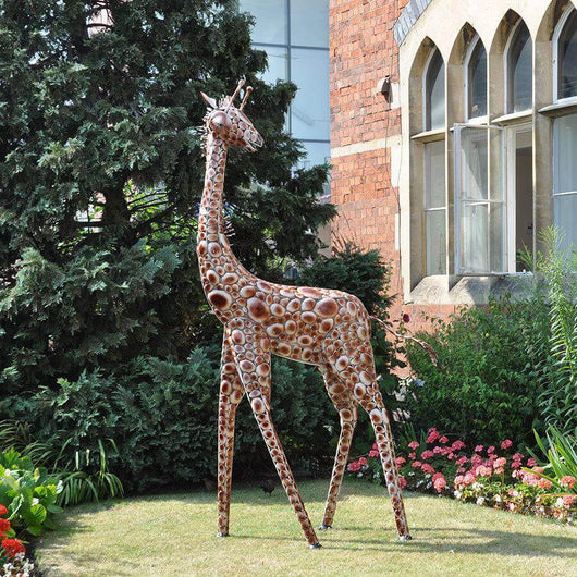 Medium Metal Giraffe Sculpture Garden Sculptures Candle and Blue
