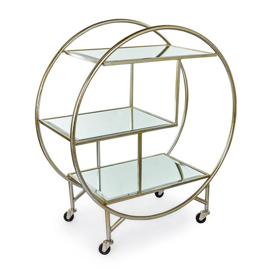 Mirrored Drinks Tea Serving Trolley - Champagne Finish Mirrored Furniture Candle and Blue Interiors