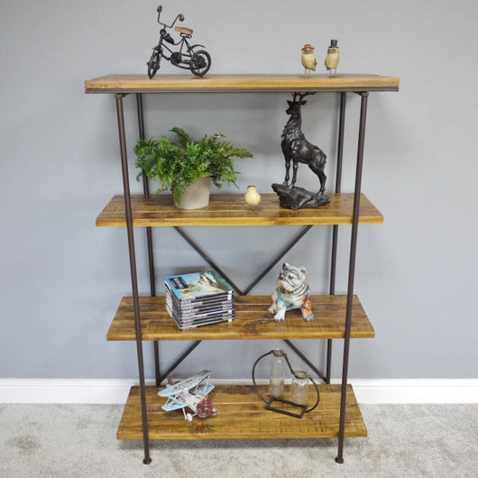 Modern Metal & Wood Shelving Unit Industrial Style Candle and Blue Interiors