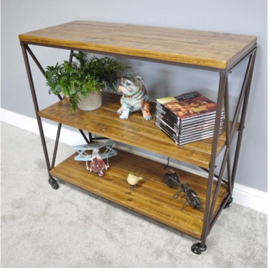 Modern Wooden Industrial Wheeled Shelving Unit Industrial Style Candle and Blue Interiors