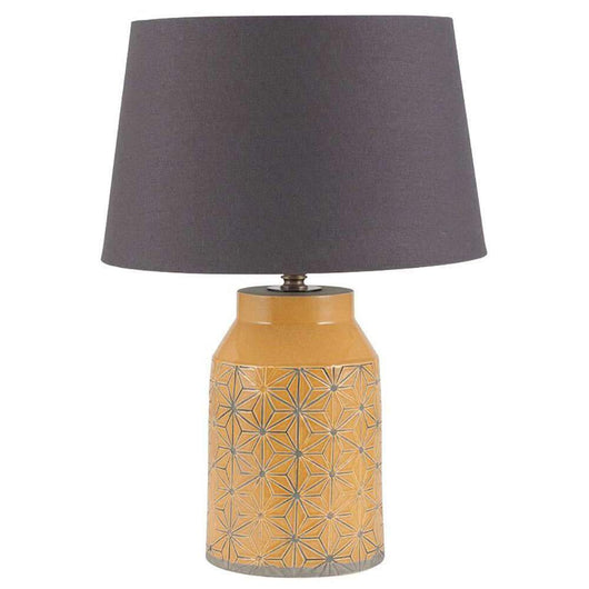 Mustard Stoneware Etched Table Lamp Lighting Candle and Blue